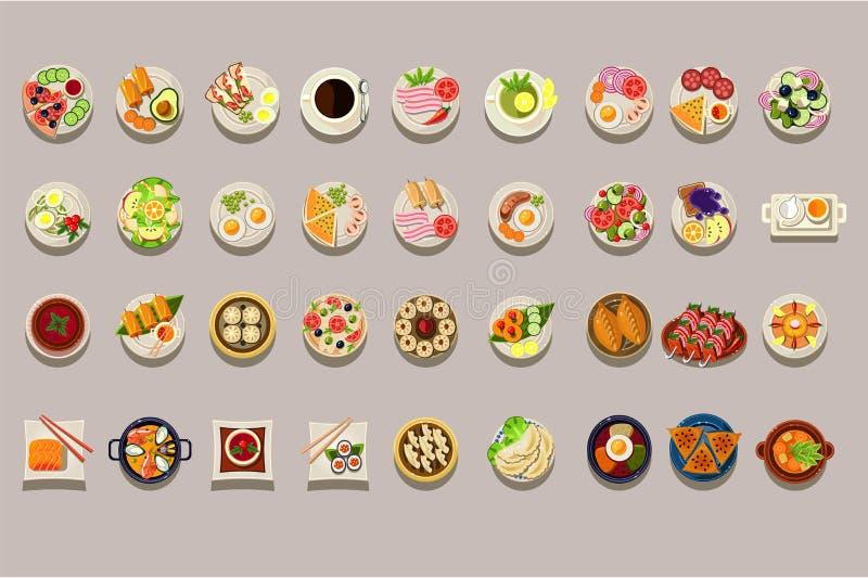 Plan vektoruppsättning av olik disk Detaljerade matsymboler Kaffe och grönt te Kulinariskt tema Läckert mål element royaltyfri illustrationer