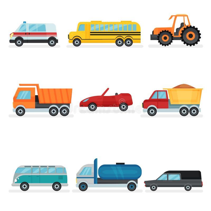 Plan vektoruppsättning av olik stads- transport Offentliga, industriella och servicebilar Passagerarebilar royaltyfri illustrationer