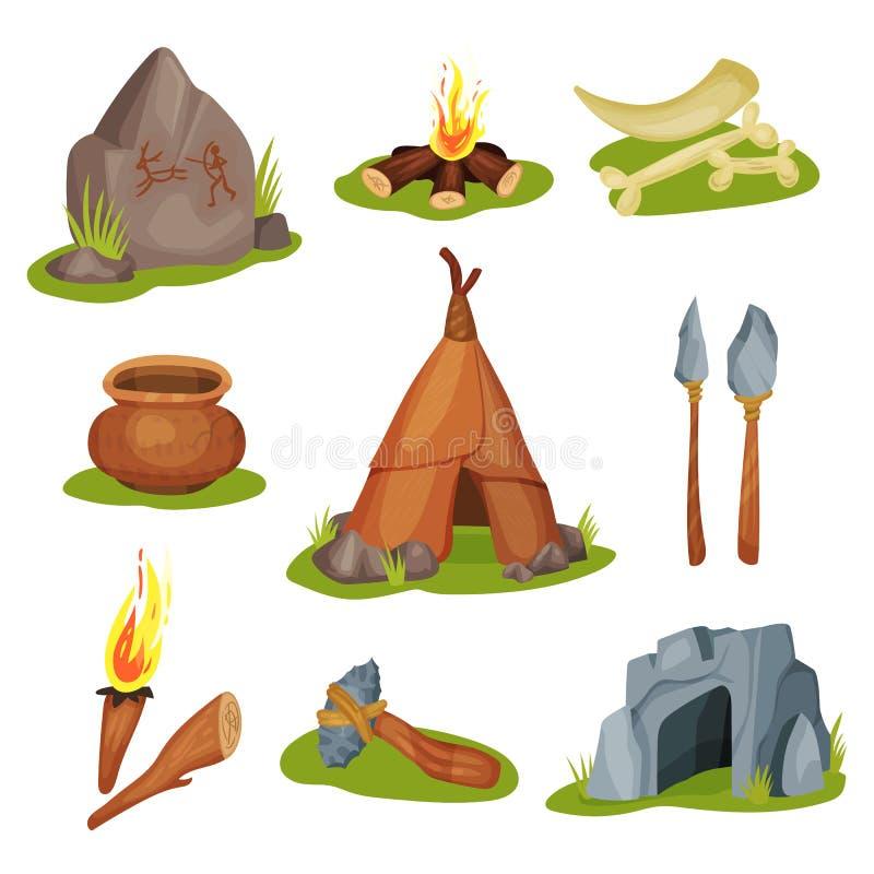 Plan vektoruppsättning av olika förhistoriska objekt Sten med teckningen, grotta, ben och tand, vapen och arbeteinstrument stock illustrationer