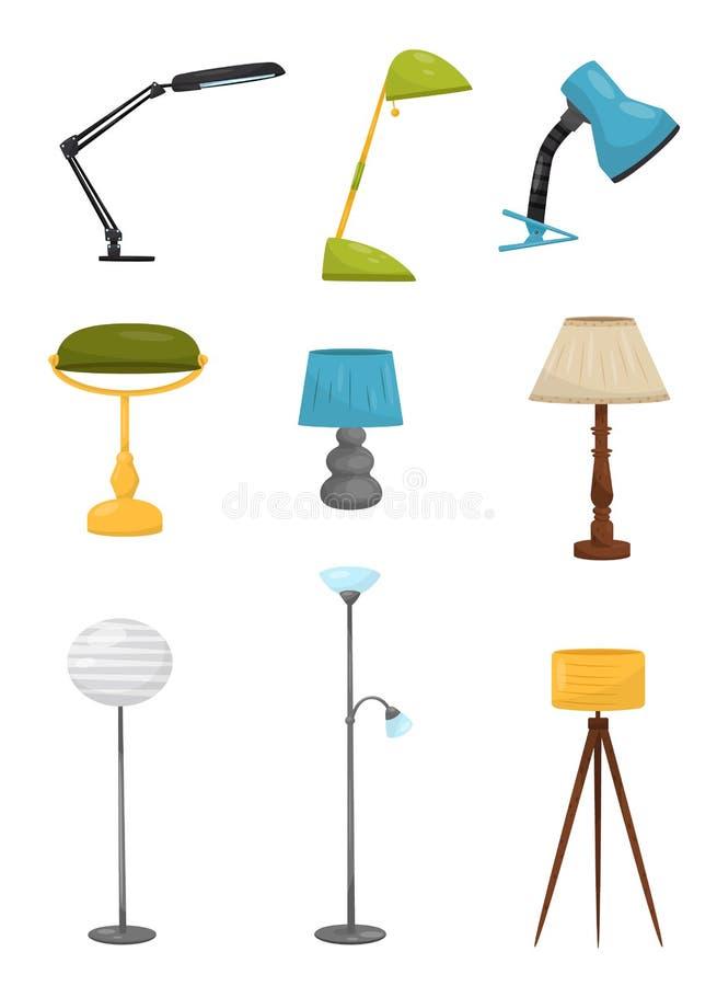 Plan vektoruppsättning av olika golv och skrivbordlampor Hem- dekorbeståndsdelar Belysningapparater Dekorativa inreobjekt vektor illustrationer