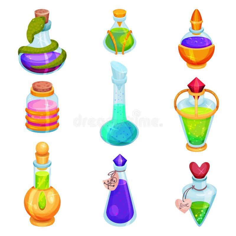 Plan vektoruppsättning av olika små flaskor med drycker Exponeringsglassmå medicinflaskor med färgrika flytande Magiska elixir Mo royaltyfri illustrationer