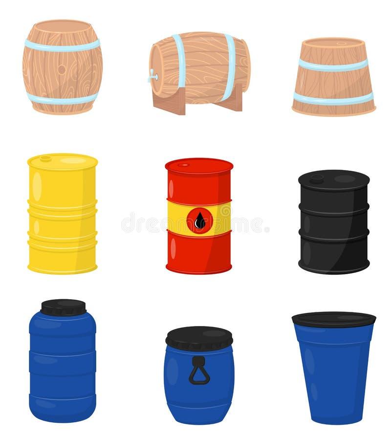 Plan vektoruppsättning av olika trummor Träbehållare för öl eller vin, plast- vattenbehållare, metallvals med råolja vektor illustrationer