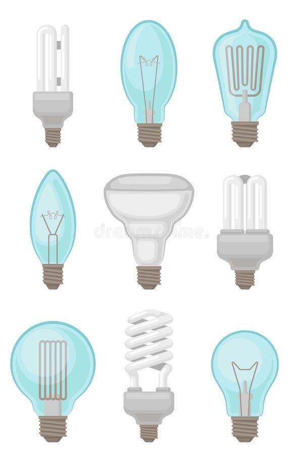 Plan vektoruppsättning av olika typer av ljusa kulor Glödande och kompakta lysrör Elektricitetstema stock illustrationer