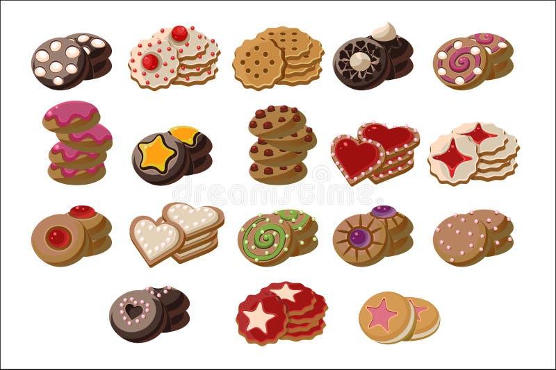 Plan vektoruppsättning av smakliga ny-bakade kakor med olika anstrykningar Läcker bakelseprodukt Söta mellanmål för te royaltyfri illustrationer