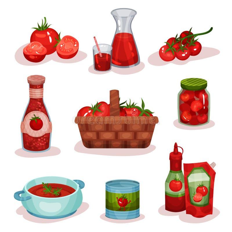 Plan vektoruppsättning av tomatmat och drinkar Ny grönsak, fruktsaft i exponeringsglas, läcker soppa i kastrullen, ketchup som är royaltyfri illustrationer