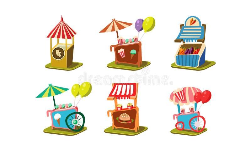 Plan vektoruppsättning av vagnar med glass och popcorn, stalls med grönsaker och hamburgare Karnevalmatställningar stock illustrationer