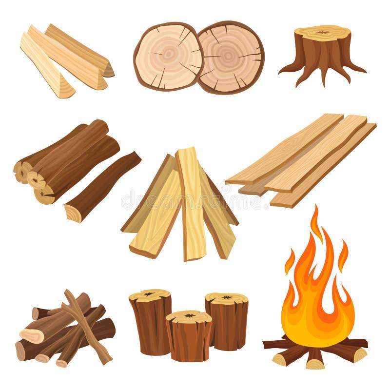 Plan vektoruppsättning av vedträ Journaler och flamma, trädstubbar, träplankor Organiskt material, naturlig textur trä vektor illustrationer