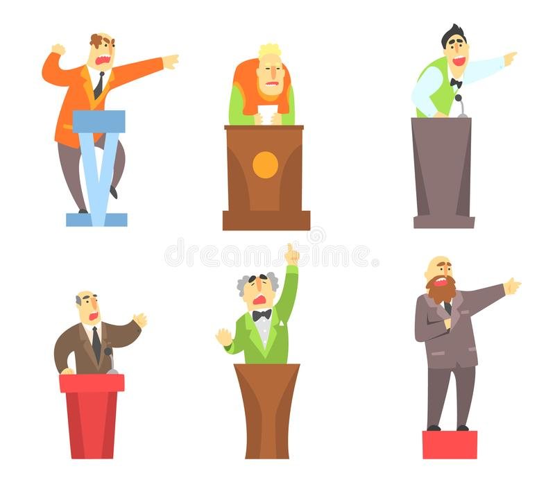 Plan vektoruppsättning av vuxna män som står bak tribun Manliga tecken för tecknad film som föreläser och ger offentligt anförand stock illustrationer