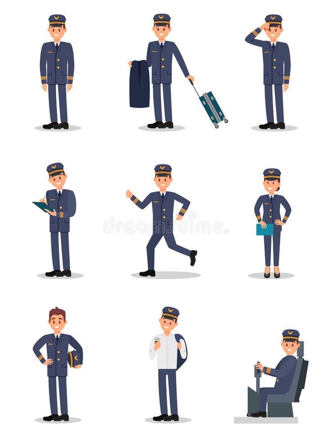 Plan vektoruppsättning med piloten i olika handlingar Kapten av passagerareflygplanet Ung man och kvinna i likformigt stock illustrationer