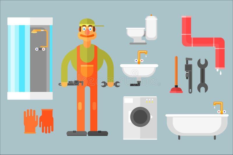 Plan vektoruppsättning med rörmokaren, hjälpmedel för reparation och sanitär teknik Arbetare toalett, vask, bad, dusch, tvagning stock illustrationer