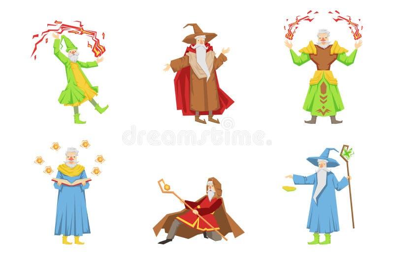 Plan vektorupps?ttning av trollkarlar i olika handlingar Gamla gr? f?rg-upps?kte trollkarlar Tecknad filmtecken med magisk ?verhe stock illustrationer