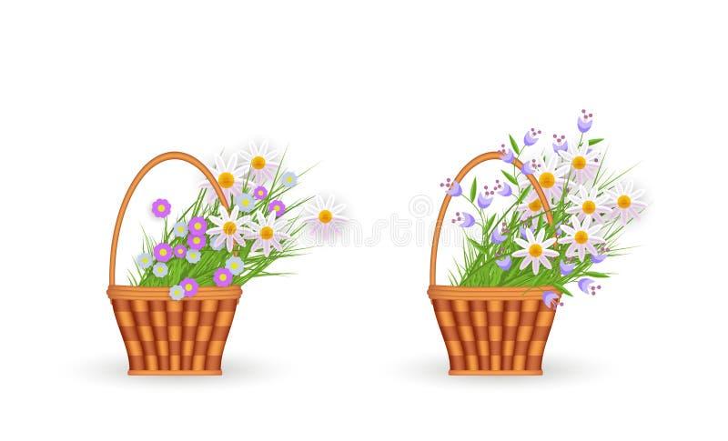 Plan vide- korg för vektor med den blommaeaster symbolen royaltyfri illustrationer