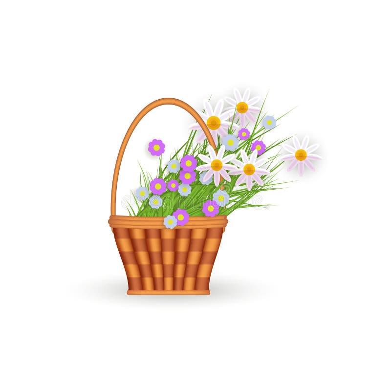 Plan vide- korg för vektor med den blommaeaster symbolen vektor illustrationer