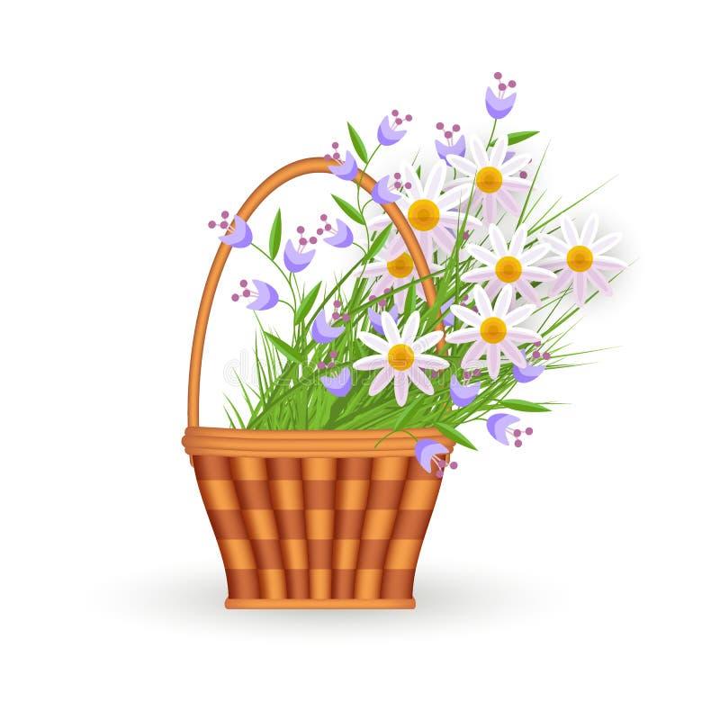 Plan vide- korg för vektor med den blommaeaster symbolen stock illustrationer