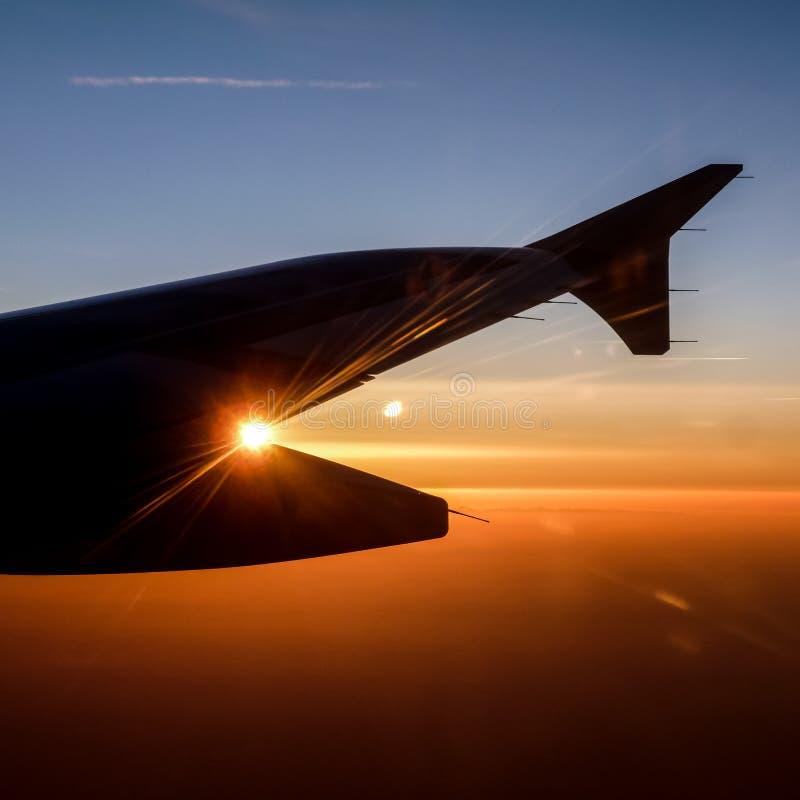 Plan vinge på soluppgång royaltyfri bild