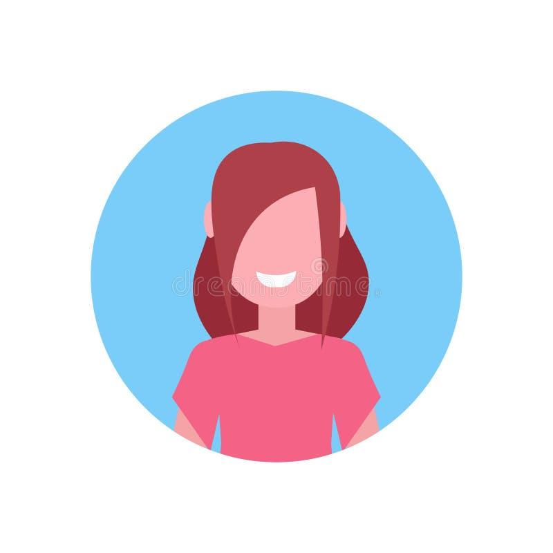 Plan vit bakgrund för lycklig brun för hårflickaframsida för avatar för litet barn kvinnlig för tecknad film stående för tecken stock illustrationer