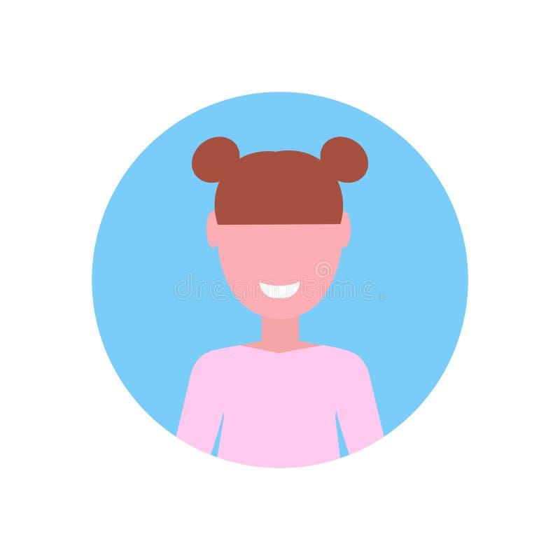 Plan vit bakgrund f?r lycklig brun f?r h?rflickaframsida f?r avatar f?r litet barn kvinnlig f?r tecknad film st?ende f?r tecken vektor illustrationer