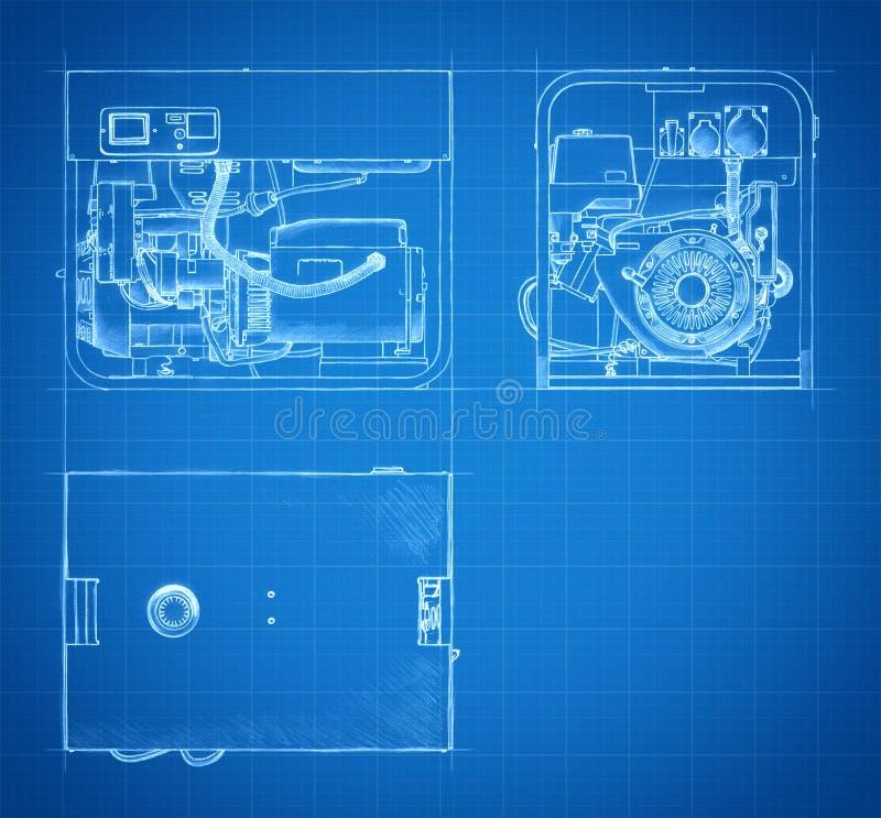 Plan von Generatorzeichnungen und -skizzen stock abbildung