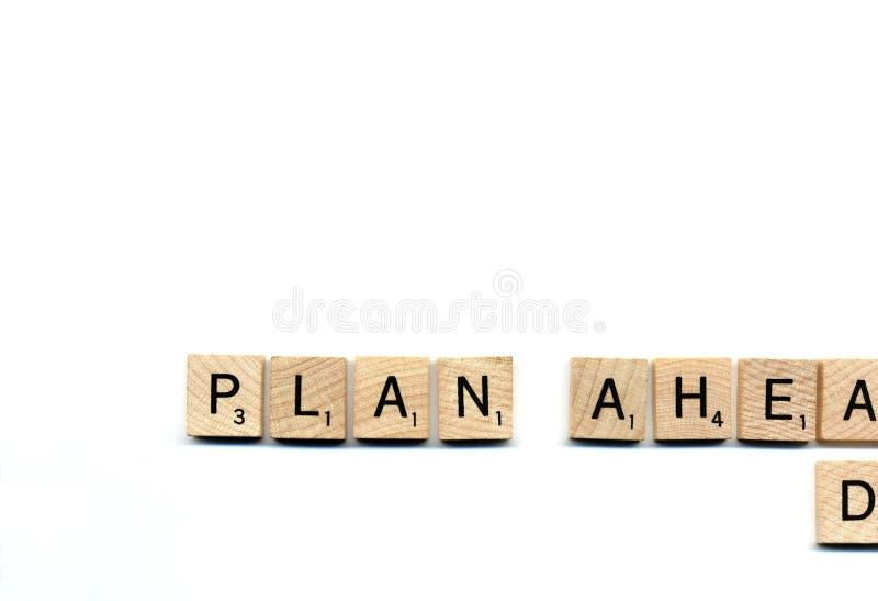 Plan voran stockfoto