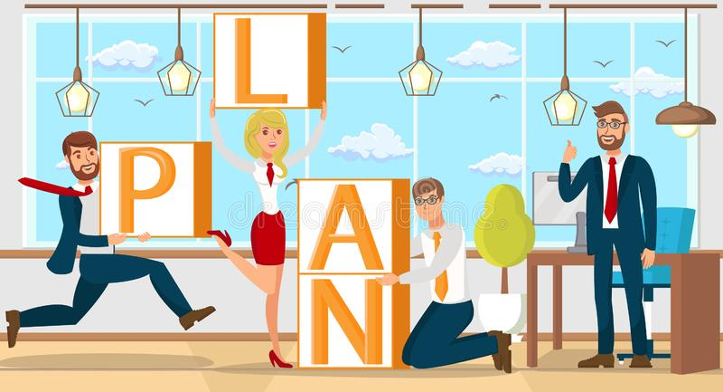 Plan w Początkowej pracie zespołowej Wektorowa płaska ilustracja ilustracja wektor