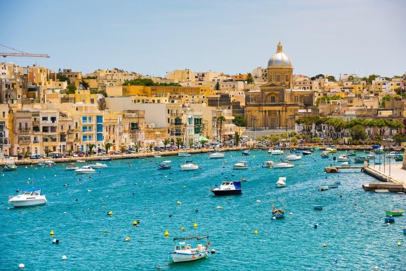 Plan wiev on the bay near Valletta stock photo