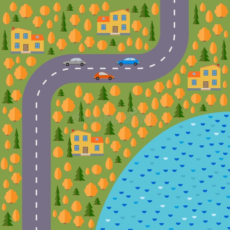 Plan wioska Krajobraz z drogą, lasem, jeziorem, samochodami i domami w jesieni, ilustracji