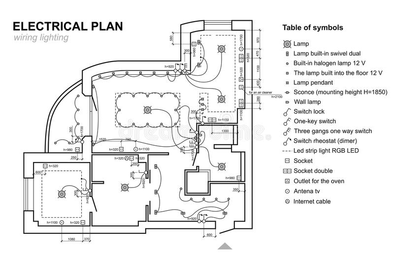 Plan Wiring Lighting Electrical Schematic Interior Set Of Standard