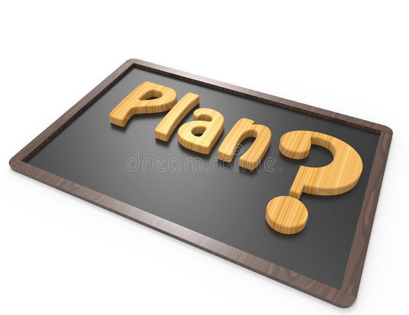 Plan word with question mark royalty free illustration
