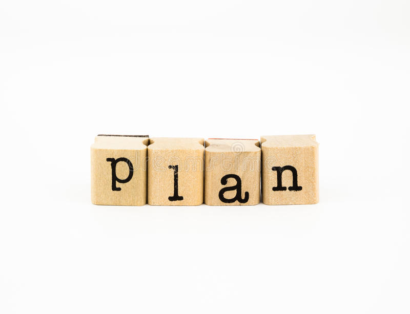 Plan wording, idea for planing new project stock photo