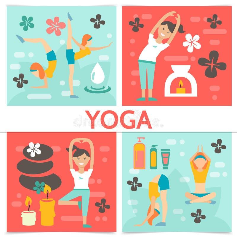 Plan yogasammansättning stock illustrationer