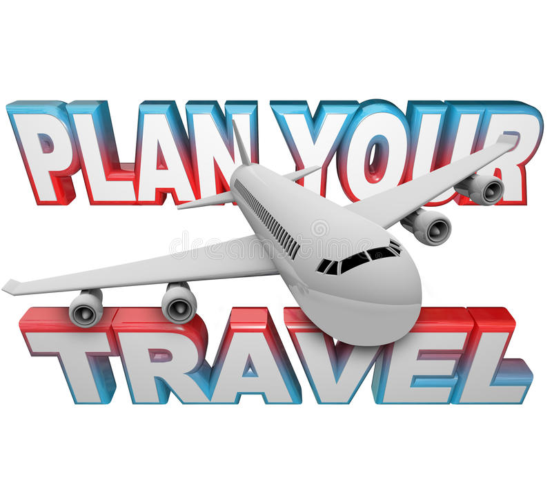 Plan Your Travel Itinerary Words Airplane Background stock illustration