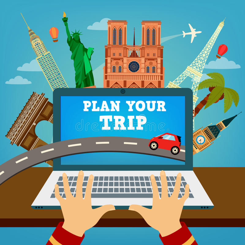 Plan your Trip. Travel Banner. Vacation Planning royalty free illustration