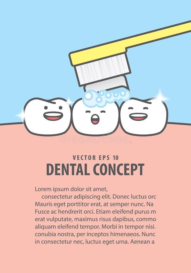 Plan-Zahncharakter sehr glücklich für bürstenden Zahnillustrationsvektor auf blauem Hintergrund Zahnmedizinisches Konzept stock abbildung