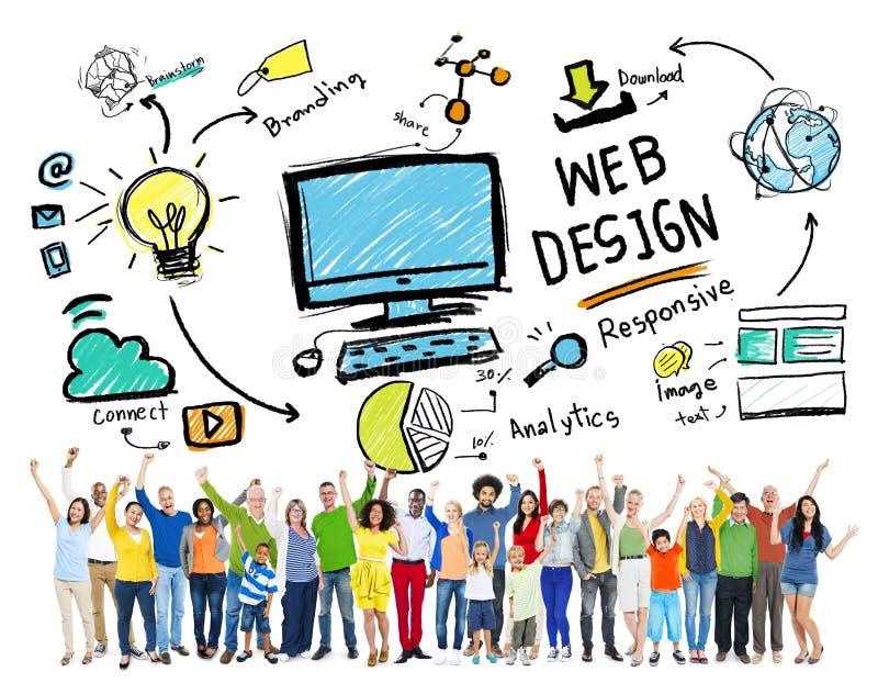 Plan zufriedene Kreativitäts-Digital grafisches Webdesign-Konzept lizenzfreie stockfotografie