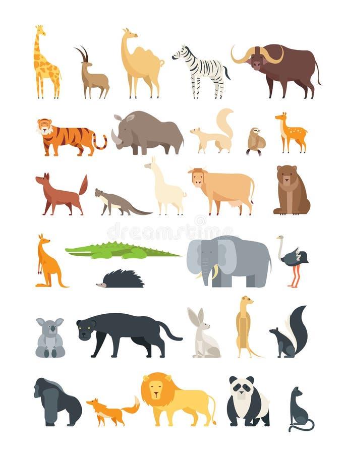 Plana afrikan-, djungel- och skogdjur Gulliga däggdjur och reptilar Lös isolerad faunavektoruppsättning stock illustrationer