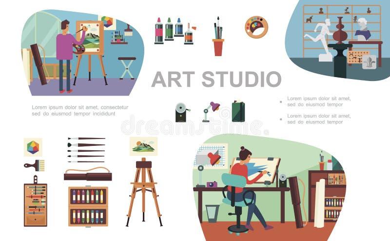 Plana Art Studio Composition royaltyfri illustrationer