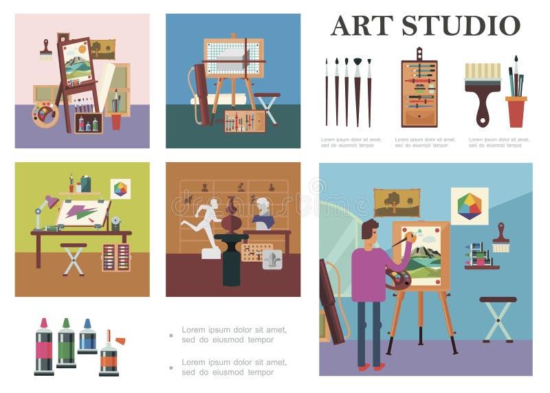 Plana Art Studio Elements Composition royaltyfri illustrationer
