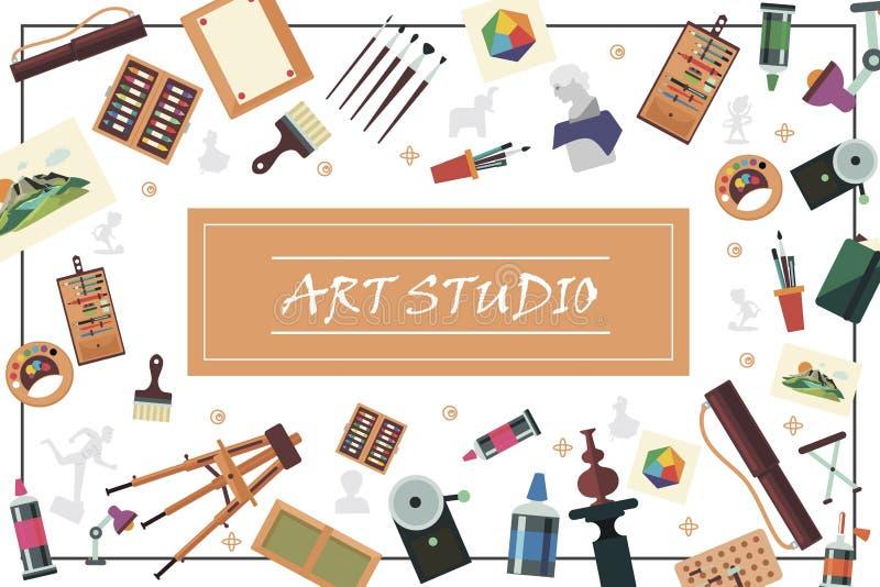 Plana Art Studio Elements Concept vektor illustrationer