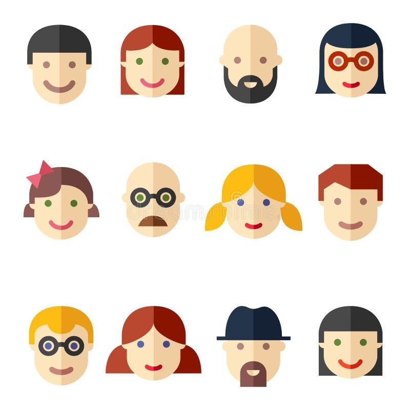 Plana avatars, framsidor, folksymboler stock illustrationer