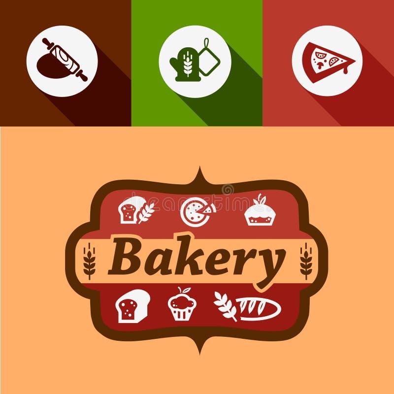 Plana bageridesignbeståndsdelar royaltyfri illustrationer