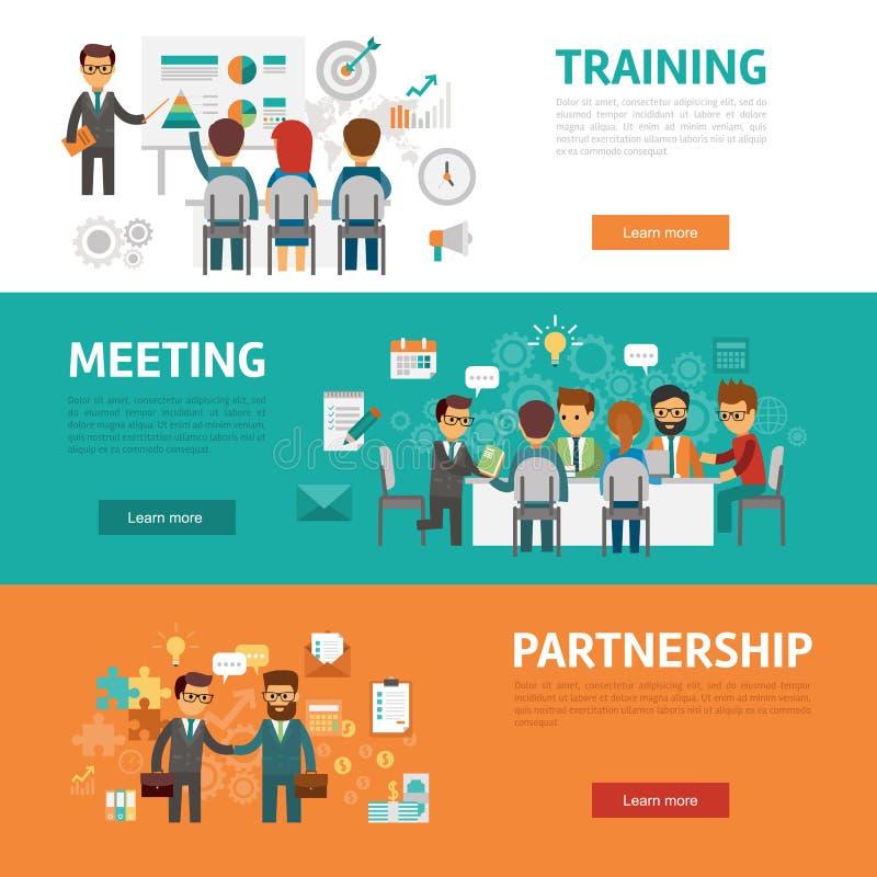 Plana baner för affärsidé, symbolsuppsättning av kontorsmötet, utbildning, överenskommelse, partnerskap, arbetsplats och projekt stock illustrationer
