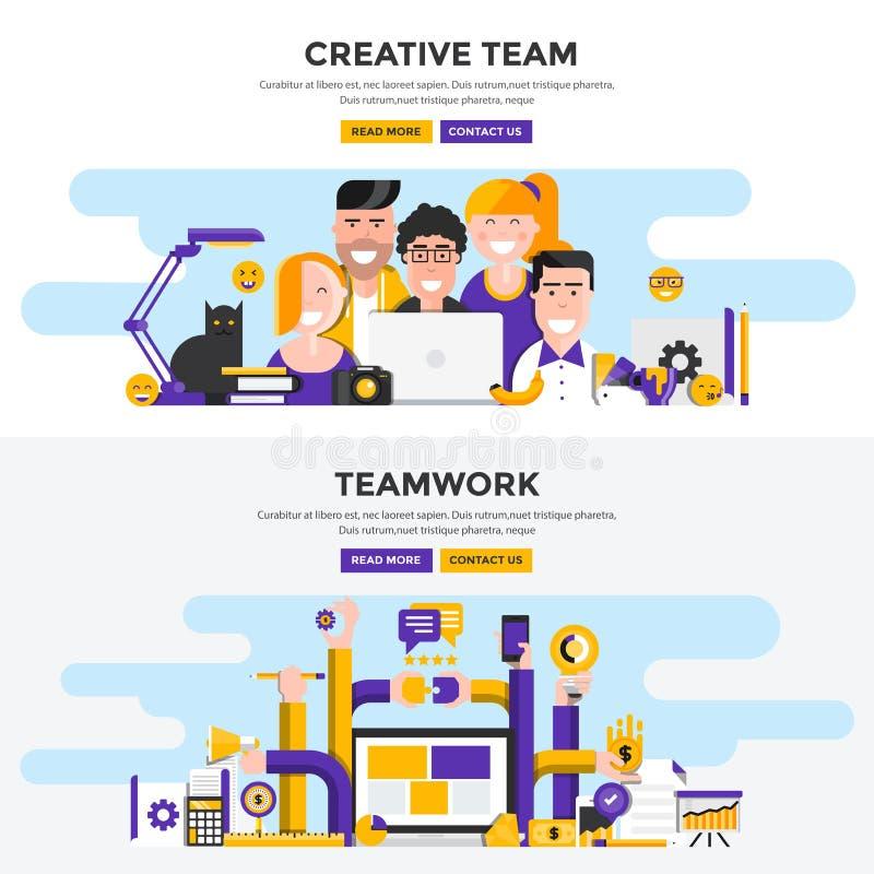 Plana baner för designbegrepp - idérikt lag och teamwork royaltyfri illustrationer
