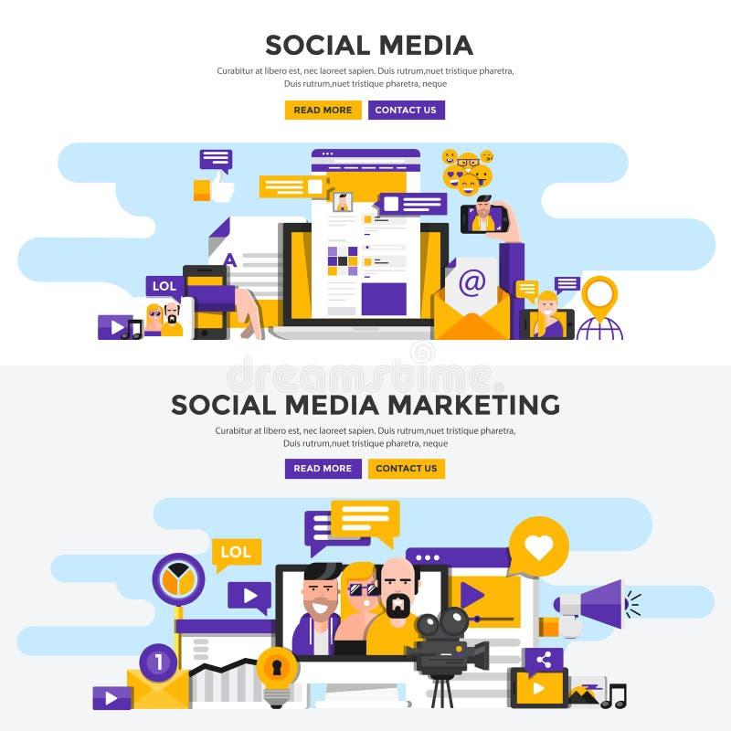 Plana baner för designbegrepp - socialt massmedia och social massmediafläck royaltyfri illustrationer