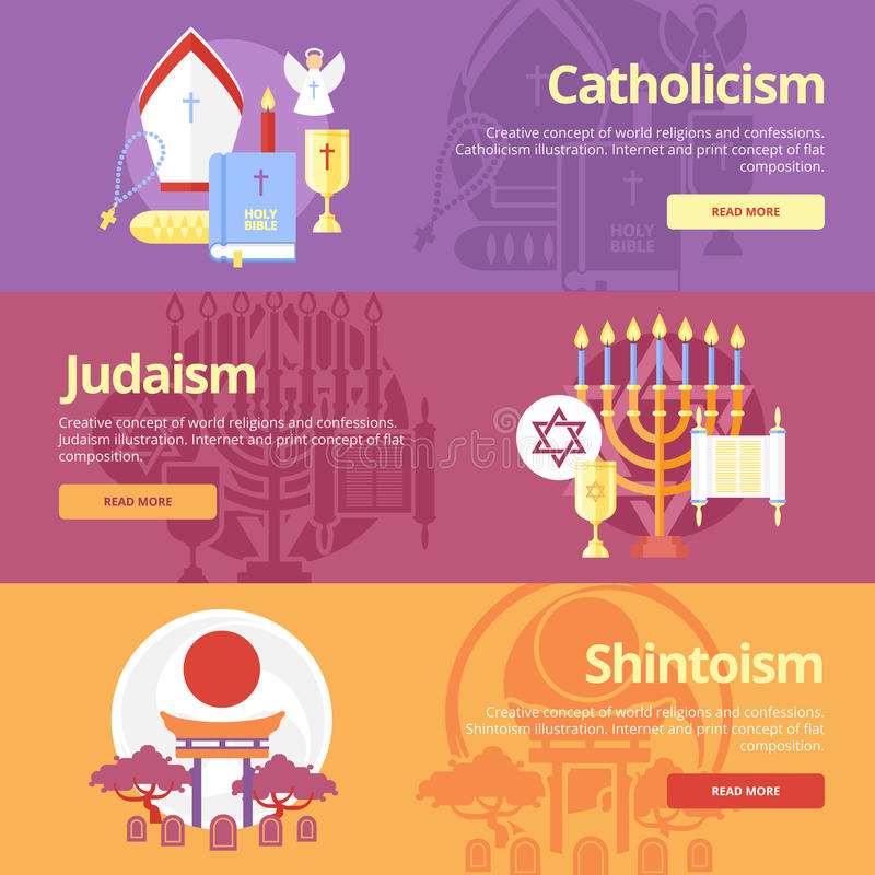 Plana banerbegrepp för katolicism, judendom, shintoism Religionbegrepp för rengöringsdukbaner och tryckmaterial royaltyfri illustrationer