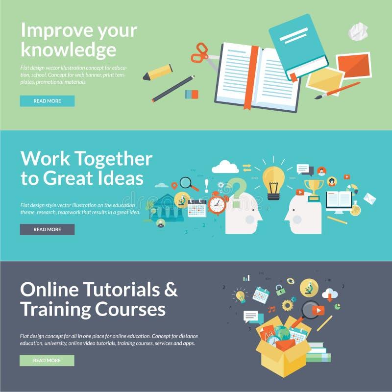Plana begrepp för designvektorillustration för utbildning royaltyfri illustrationer
