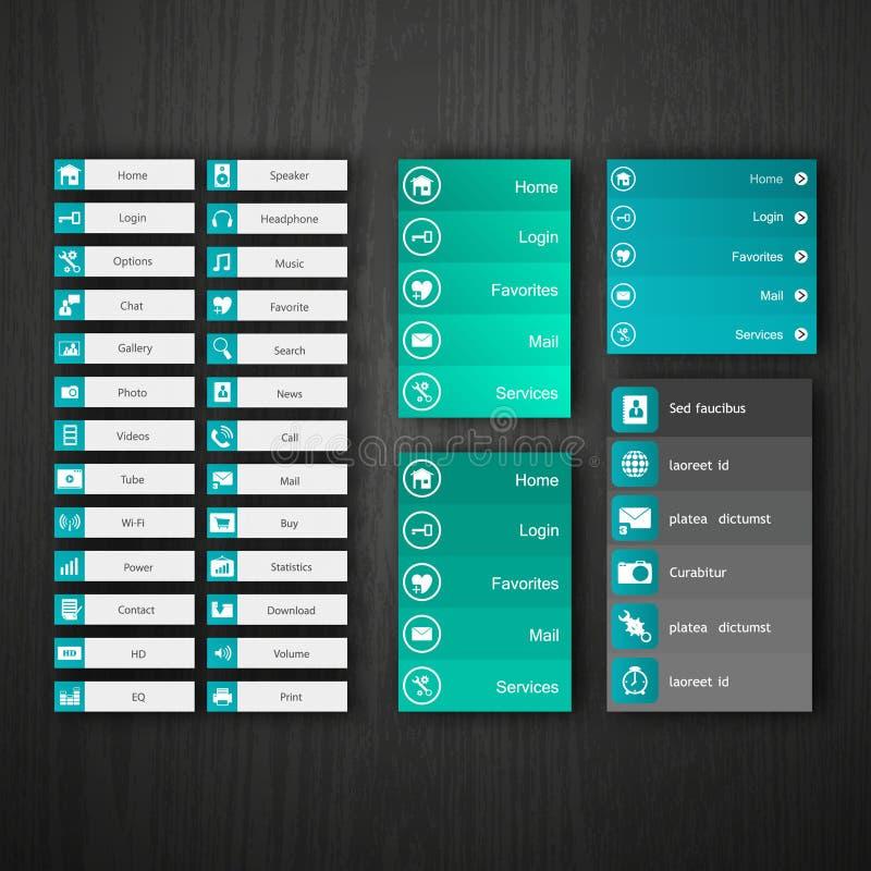 Plana beståndsdelar för rengöringsdukdesign, knappar, symboler. Mallar för website. royaltyfri illustrationer
