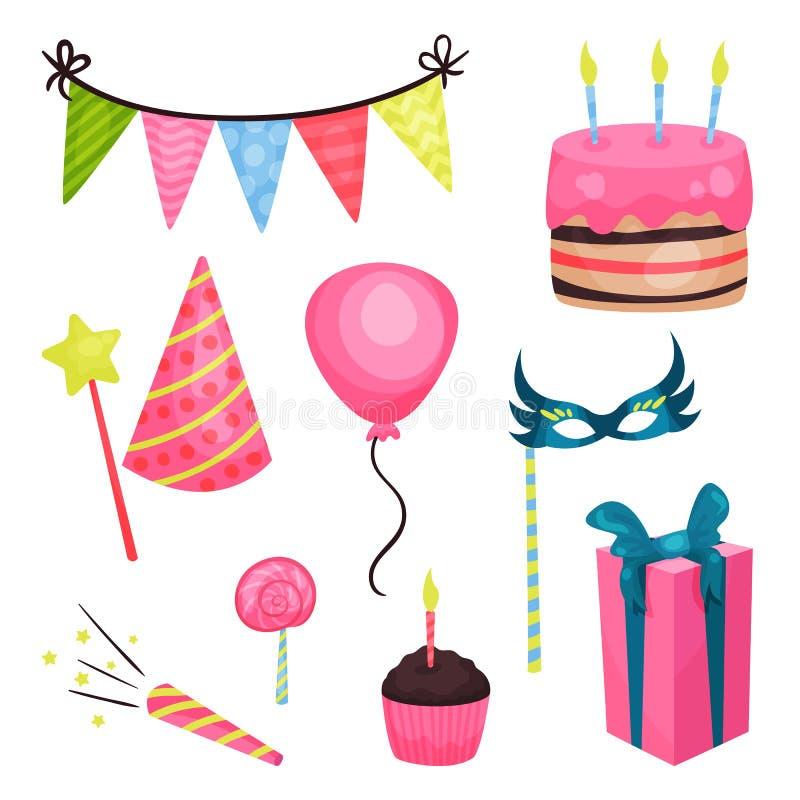 Plana beståndsdelar för vektorfödelsedagparti Triangelbuntingflaggor, kaka, glansig ballong, klubba, muffin, girt ask, rör royaltyfri illustrationer