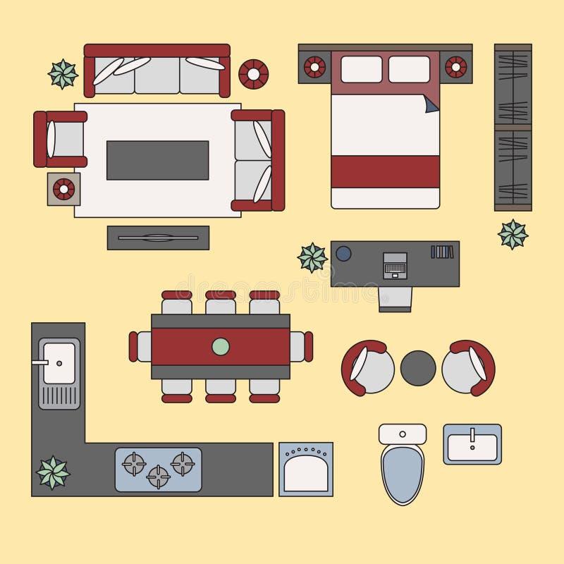 Plana beståndsdelar, plan inre bästa sikt vektor illustrationer
