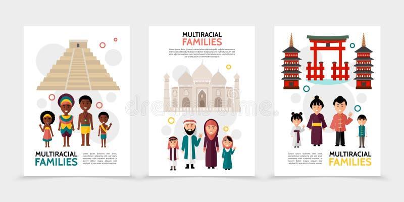 Plana blandras- folkaffischer stock illustrationer