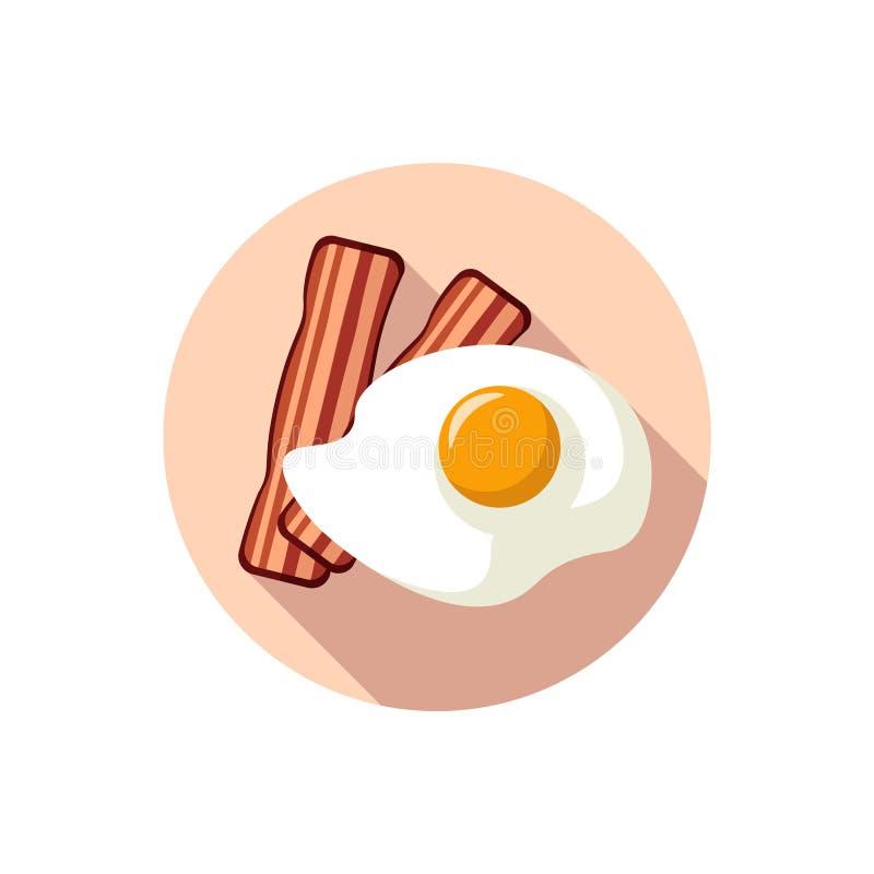 Plana designägg och Fried Bacon stock illustrationer